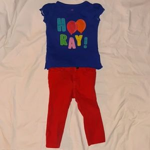 Girls 18-24mnth blue Hooray! shirt & red jeans